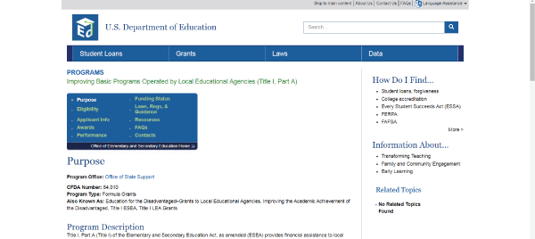 U.S. Department of Education Title 1 Program