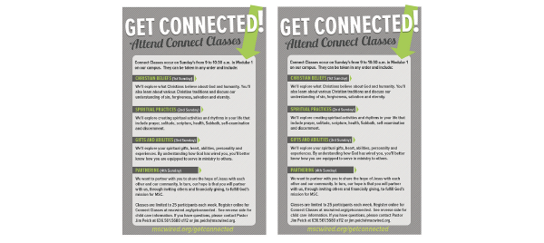 Connect Classes Flyer Example