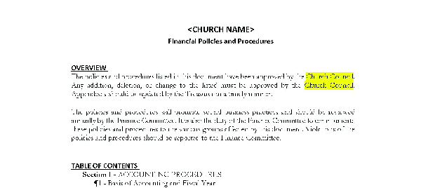Local Church Financial Policies Template