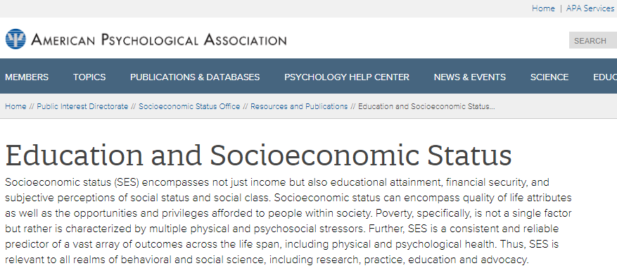 Education and Socioeconomic Status Factsheet